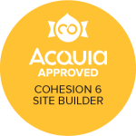 Badge showing Acquia Approved Certified Cohesion 6. Site Builder